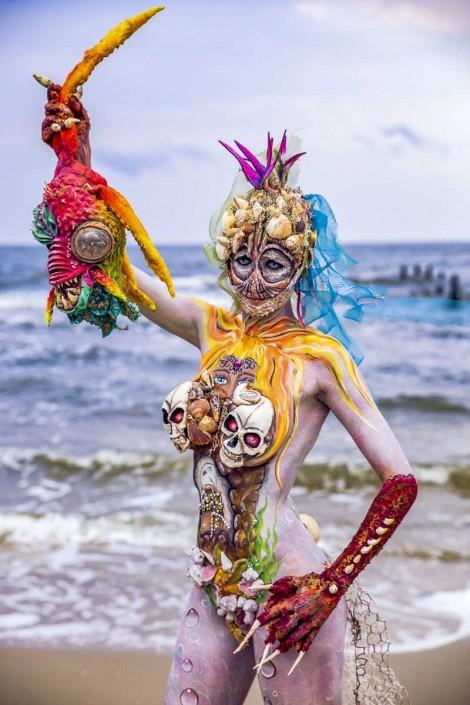 Edyta, die Gewinnerin des 3. Heringsdorfer Bodypainting Events auf der Insel Usedom